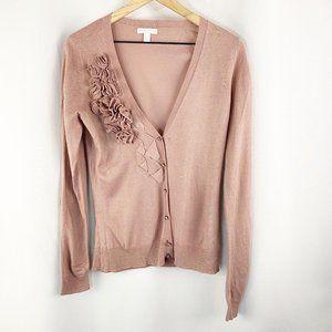 New York & Company Floral Cardigan Pink Medium
